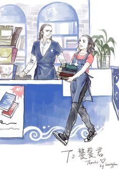 Gil-galad and Elrond work in a bookstore. AU    --Гил-гэлад и Элронд работают в книжном магазине. АУ