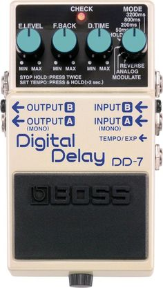 Boss DD-7 Digital Delay Pedal. Modulation, Analog Delay mode, Reverse mode, External pedal control options and longer delay time are just a few of its notable features. For a Guide to Delay Pe3dals see http://www.guitarsite.com/delay-pedal/