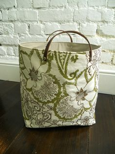 Fabric Basket Botanical Orchid with leather handles by papatotoro, $84.00