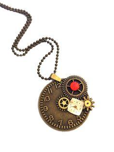 Steampunk Clock Pendant Necklace with Red Rhinestons #bulova #watchface #steampunk #repurposedjewelry