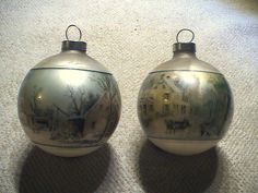 2 Vintage Currier & Ives Christmas ball ornaments #Unbranded