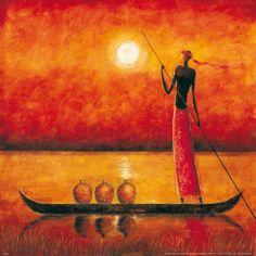 Original Boat Painting by Okearts African Exhibitions Black Art, Black Women Art, Afrique Art, African Art Paintings, Boat Painting, Art Sculpture, Afro Art, African American Art, Aboriginal Art