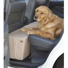 Pet Booster Seat for Cars Included Seat Belt Tether Quilted Tan PetSafe Happy Ride Dog Safety Seat Trucks and 4X4s Durable Liner is Machine-Washable and Easy to Clean