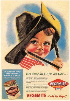 """Vintage Australian """"Happy Little Vegemite"""" poster. Brisbane, Melbourne, Sydney, Vintage Food Posters, Vintage Ads, Vintage Signs, Vintage Ephemera, Vintage Stuff, Vintage Pictures"""
