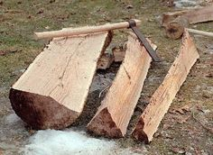 Vikings used the process known as riving to reduce a tree trunk to planks. Rather than sawing the wood, they split it. As a result, the grain of the wood follows the piece being fabricated, creating a much stronger item than if it had been sawn.  It's one of several reasons why thin-hulled Viking ships could withstand the rough seas of the North Atlantic http://www.hurstwic.org/history/articles/manufacturing/text/viking_woodworking_riving.htm