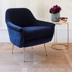 Deep blue armchair.