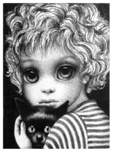 "Keane Big Eyes Paintings 1961 | Girl with Cat"" - Margaret Keane, 1972"