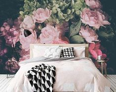 Tender Peony Wallpaper floral wallcovering dramatic floral | Etsy Kids Room Wallpaper, Fabric Wallpaper, Best Removable Wallpaper, Kids Wall Murals, Floral Wall, Playroom Decor, Traditional Wallpaper, Windows And Doors, Peonies