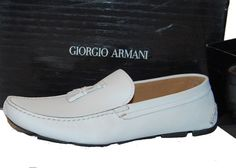 Giorgio Armani White Men's Loafers Leather Italy Moccasins Shoes Sz US 12 UK 11 #GiorgioArmani #LoafersSlipOns