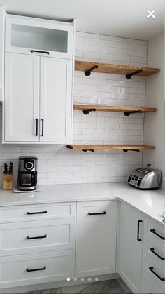 Like small section of open shelves (wood to match flooring) for things like small appliances or cooking items