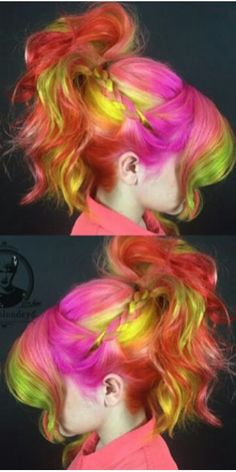 Pink yellow orange dyed hair color