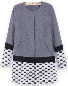Серобелое+контрастное+карманное+пальто+RUBp.2102