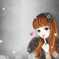 Enakei Girl (Part Cute Cartoon Pictures, Cute Cartoon Girl, Cute Good Morning Gif, Lily Cat, Meaningful Drawings, Anime Korea, Girly Images, Lovely Girl Image, Cute Korean Girl
