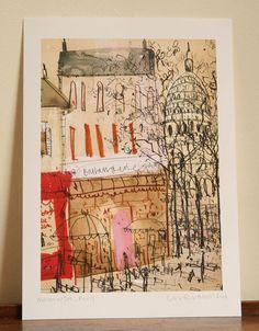 Montmartre, Paris   A4 signed giclee print  image size 17.5 x 25 cm