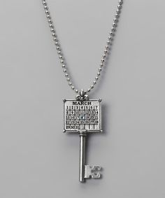 Kind of love this...Take a look at this Antique Silver 'March' Calendar Key Necklace by Not Just Any Old Day on #zulily today!