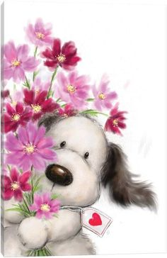Cute Dog with Bunch of Flowers, Happy Valentine's Day card. Cards are shipped the Next Business Day. Happy Valentines Day Card, Happy Birthday Greetings, Birthday Wishes, Canvas Artwork, Canvas Art Prints, Cute Images, Cute Pictures, Animal Drawings, Cute Drawings