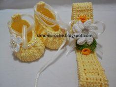 Simoni crochê: Sapatilha e faixa de cabeça em crochê para bebe