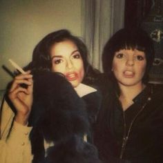 Bianca Jagger and Liza Minelli polaroid
