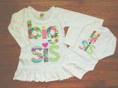 Big sis n Lil sis shirt for Saige n baby gift for her to bring to hospital for baby w/ a recieving blanket