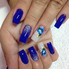 Check it out. Aycrlic Nails, Blue Nails, Blue Nail Designs, Gel Nail Colors, Nails Only, Glitter Nail Art, Beautiful Nail Art, Nail Inspo, Polish