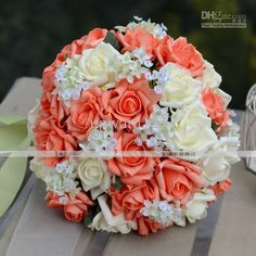 New Style Handflower Wedding Bouquet Artificia 30 Rose Flowers Orange ≫≫Utuy Bridal Bouquets Bridal Throw Bouquet Flowers For Sale Flowers For Wedding From Upward123, $17.85| Dhgate.Com
