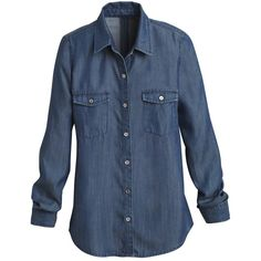 White House Black Market Denim Shirt ($88) ❤ liked on Polyvore featuring tops, shirts & tops, long sleeve button shirt, blue denim shirt, blue top and denim button shirt