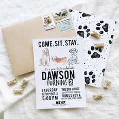 Dawson's birthday pawty - Pretty Little Paper Co. Dog First Birthday, Puppy Birthday Parties, Puppy Party, Birthday Party Themes, 15th Birthday, Adoption Party, Birthday Invitations Kids, First Birthdays, Patriotic Crafts
