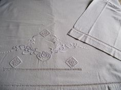 Vintage French Linen Bedspread with hand by WhiteLinenplus on Etsy, €75.00
