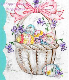 Embroidery Pattern, All My Eggs, Spring Decor, Easter Decor, Easter Basket, Easter Eggs, Cottage Decor, Crabapple Hill Studio, PATTERN ONLY by farmersattic