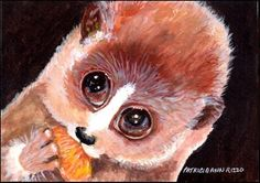 "Daily Paintworks - ""Slow Lemur"" - Original Fine Art for Sale - © Patricia Ann Rizzo"