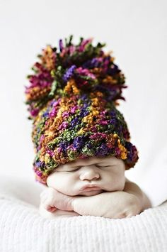 Tutti Frutti Pom Pom Hat in Green Pink Purple Orange - Beautiful Photo Props