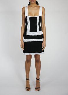 5ea2d7b22ab0 Sleeveless Yellow or Black Dress Sale - White Puckered Straps. Paula Hian -  Designer