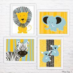 Zebra Kindergarten Kunstdruck Dschungel Tiere von MonkieBirdie