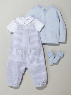 Silhouette MACMILLAN COLLAR BODYSUIT + CHECKED DUNGAREES + CARDIGAN + 2 PAIRS OF BABY BOUCLE SOCKS -