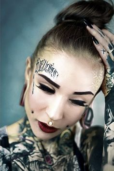 Above the is a modern practice of body modification. Although is considered as an extreme fashion style but compare to before they are more acceptable. Take a view to get the best idea about the Tattoos Skull, Face Tattoos, Sexy Tattoos, Tattoos For Women, Tattooed Women, Monami Frost, Dimple Piercing, Cheek Piercings, Body Piercing