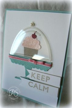 """Stamp clear domed lid (from SU! """"Cherry on Top"""") onto acetate using Stazon White Ink. Cut out around edges. Attach at top with a Glue Dot and then adorn with a Pearl.  The cupcake frosting (from SU!'s """"Create a Cupcake"""") is stamped on pink card stock with Versamark; embossed with clear Embossing Powder.  and punched out with the coordinating punch."""