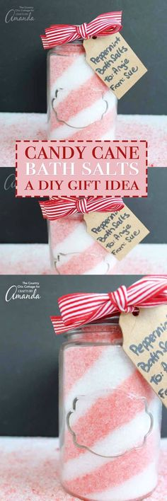 These Peppermint Bath Salts require only four ingredients and take less than 10 minutes to make. The perfect DIY holiday gift idea, candy cane bath salts!
