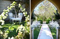 Formal Garden wedding ceremony.  Held at Evergreen Garden Venue on the Gold Coast.  Fairytale wedding - pink & white wedding - tiffany chairs - outdoor wedding.  See more at www.sugarandspiceevents.com.au
