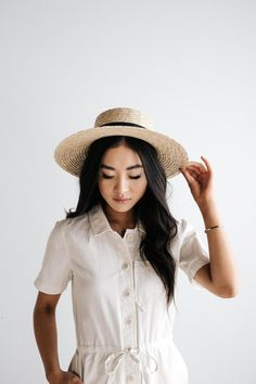 GIGI PIP Hats for Women- Faye Medium - Natural Straw Boater Hat-