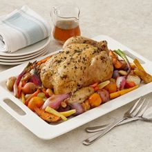 Roasted Chicken and Root Vegetables - Full of great roasted-in flavor, this chicken and root vegetables recipe brings nutrition - and smiles - to your dinner table. Easy Roast Chicken, Roast Chicken Recipes, Roasted Chicken, Baked Chicken, Turkey Recipes, Roasted Root Vegetables, Chicken And Vegetables, Root Veggies, Great Roasts