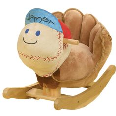 Our Rockabye Homer Baseball Rocker is the perfect addition to baby's nursery. The Rockabye Homer Baseball Rocker has a natural wooden base, easy grip wooden handles, soft and sturdy seat and plays music that teaches ABC's, colors, shapes and more. Baseball Chair, Baseball Nursery, Baseball Stuff, Baseball Mom, Softball, Giants Baseball, Baseball Season, Baseball Field, Toddler Toys