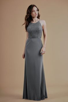 L214015 Lace & Stretch Crepe Long Bridesmaid Dress with Jewel Neckline Charcoal Bridesmaid Dresses, Event Dresses, Formal Dresses, Jade Couture, Jasmine Bridal, Wedding Labels, Stretch Lace, Couture Collection, Wedding Designs
