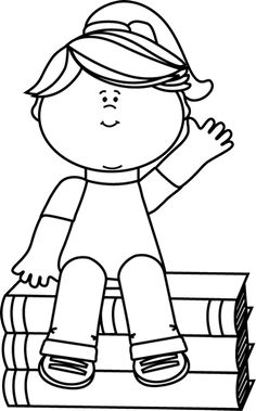 Black and White Girl Sitting on Books and Waving Clip Art - Black and White Girl Sitting on Books and Waving Image