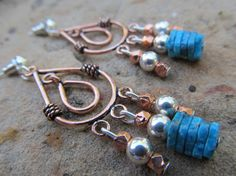 Copper & Sterling Chandelier Earrings by FayWestDesigns on Etsy