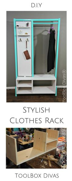 Diy Furniture Stylish DIY Clothes Rack for. Small spaces or rooms with out a closet. This wardrobe has a mirror and place to store makeup and accessories. Hanging Clothes Racks, Diy Clothes Rack, Clothes Drying Racks, Clothes Storage, Diy Sofa, Diy Storage, Diy Organization, Organizing, Extra Storage
