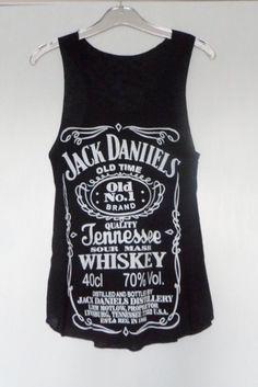 NEW Jack Daniels Whisky Label Sleeveless Vest Tank T Shirt Classic Design Ladies | eBay