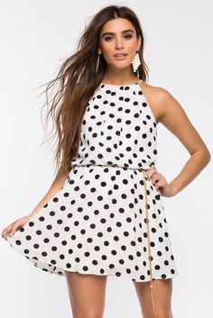 Dolly Dot Halter Pleat A-Line DressDolly Dot Halter Pleat A-Line Dress