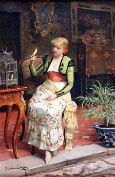 1800 Victoriano Codina Langlin (artista español, Mujer con pájaro It's About Time: Keeping Birds in Cages from the early 1500 to the early Cottage Art, Spanish Artists, Antique Paint, Classical Art, Beautiful Paintings, Art Forms, Female Art, Pet Birds, Street Art