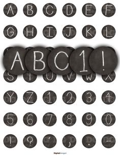 Chalk Board Clip Art ABC Letters Numbers 1 inch 2 inch