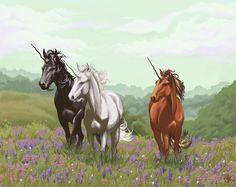 Brown Unicorn by kengiroo on DeviantArt Unicorn Books, Unicorn Horse, Unicorn Art, Magical Creatures, Fantasy Creatures, Beautiful Creatures, Unicorn And Fairies, Unicorns And Mermaids, Unicorn Pictures